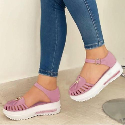 Women Comfy Platform Soft Sole Fabric Hollow-out Tassels Sandals