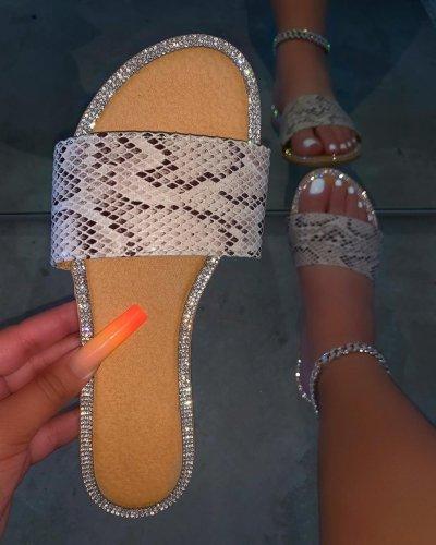 Women's Fashion Rhinestone Flat Sandals