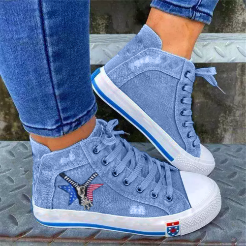 Women Casual Comfortable Denim Zipper Decoration Lace-up Sneakers