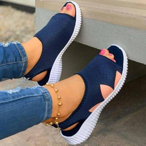 Women Casual Comfy Mesh Cloth Print Flat Slip On Sports Sandals