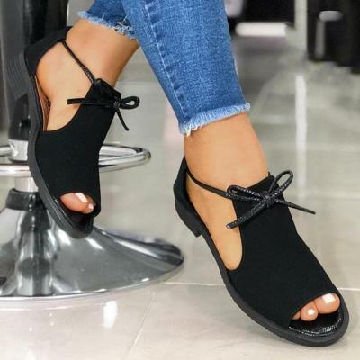 Women Casual Simple Pu Pure Color Bowknot Lace-up Flat Sandals