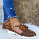 Women Fashion Pu Plaid Bowknot Buckle Flat Sandals