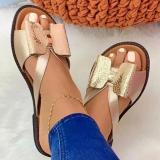 Women Casual Pu Color-Blocking Bowknot Flat Sandals