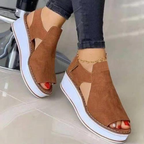 Women Casual Pu Hollow-out Peep Toe Magic Tape Platform Sandals