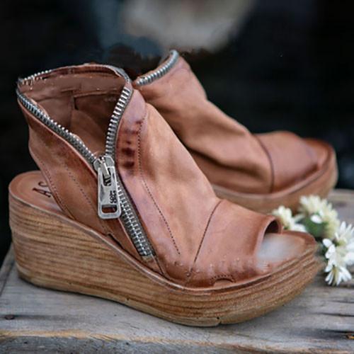 Vintage PU Zipper Wedge Sandals