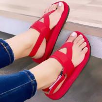 Women's Comfy Color Block Casual Platform Flip Flops