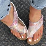 Women Casual Comfy Pu Print Toe Loop Beach Sandals