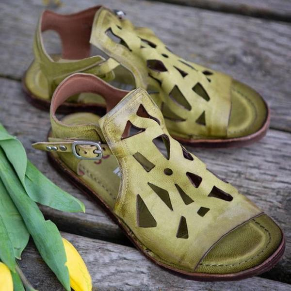 Women Casual Retro Pu Hollow-out Adjusting Buckle Flat Sandals