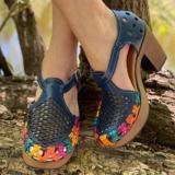 Women's Hollow Handmade Wedge Sandals