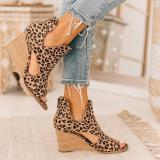 Leopard Open Toe Wedges