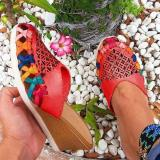 Women's Fashion Handmade Colorful Woven Wedge Sandals