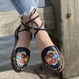 Women's Buckle Colorful Block Open Toe Shoe