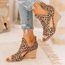 Leopard Open Toe Wedges