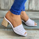 Women's Fashionable And Comfortable Flower Upper Short Square Heel Sandals