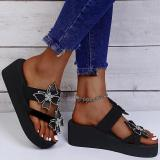 Women Fashion Pu Butterfly Adornment Wedge Heel Sandals