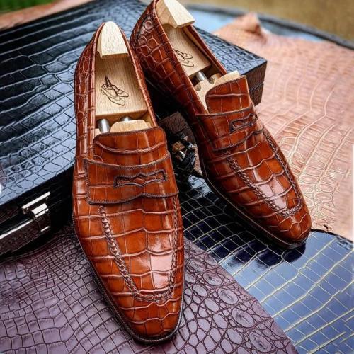 Mens Handmade Pattern Slip on Shoes