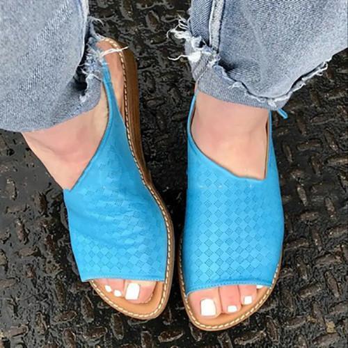 Summer Flat Heel Peop Toe Sandals
