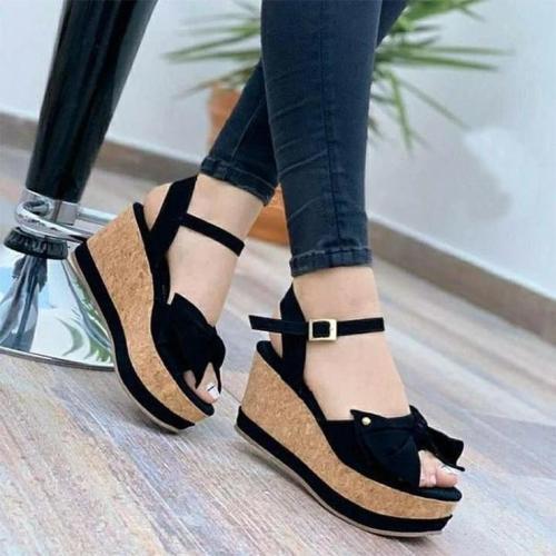 Ladies Buckle Casual Platform Wedge Sandals