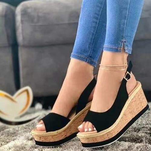 Peop Toe Wedge Heel Sandals