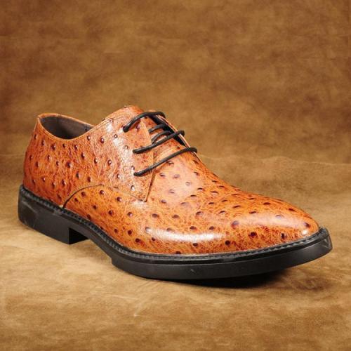 Brown Ostrich Print Senior Men'S Shoes
