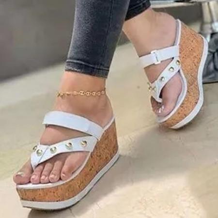 Women's Heels Cloth Wedge Heel Slippers