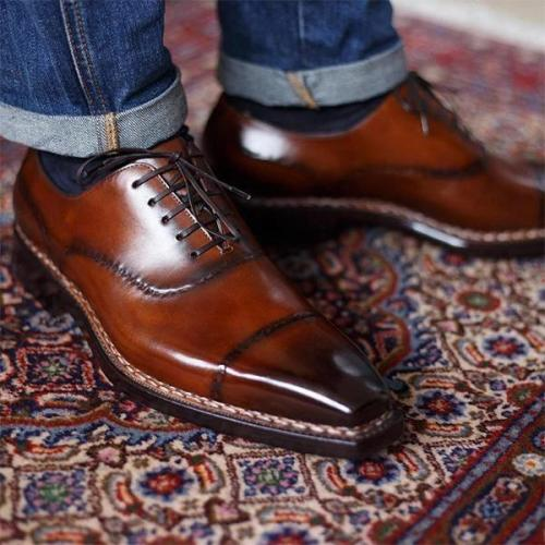 Gradient Color Effect Hand Painted Oxford Shoes Leather Shoes
