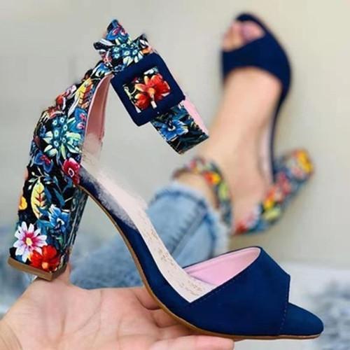 Chunky Heel Suede Sandals