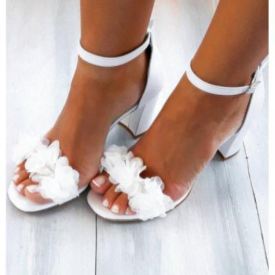 Womens Handmade Flower Buckle Thick Heel Sandals
