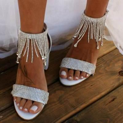 Womens Rhinestone Tassel Chain Sandals