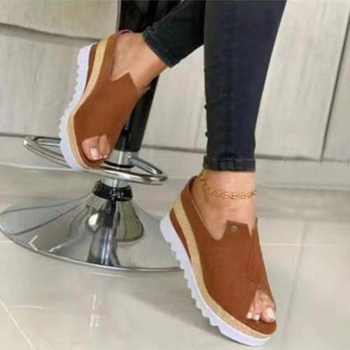 Women Casual Daily Cloth Peep Toe Wedge Heel Sandals Slippers