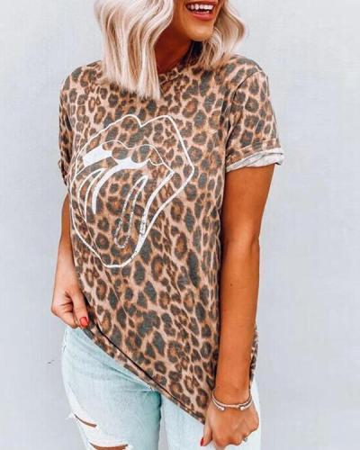 Leopard Printed Lips T-Shirt Tees
