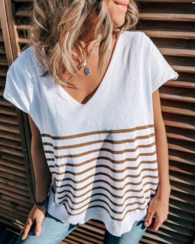 Casual V Neck Stripe T-shirt