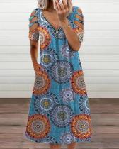 Women's Floral Print Off-the-shoulder Dress