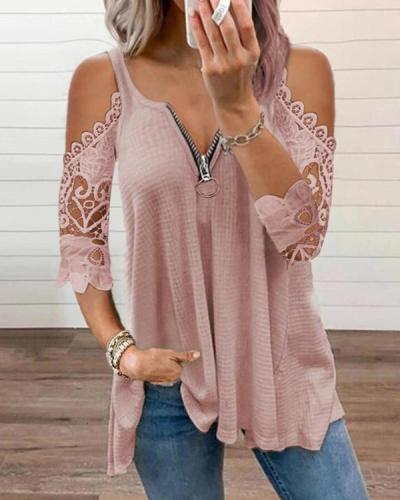 Lace Zipper T-Shirt