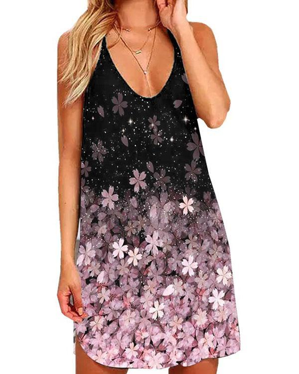 Sexy Halter Neck Reticulated Back Design Floral Mini Dress