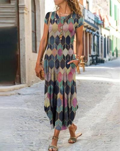 Best Selling Explosions Personality Print Round Neck Short-sleeved Dress
