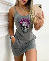 Chic Rose&Skull Print Bodycon Stretchy Mini Dress