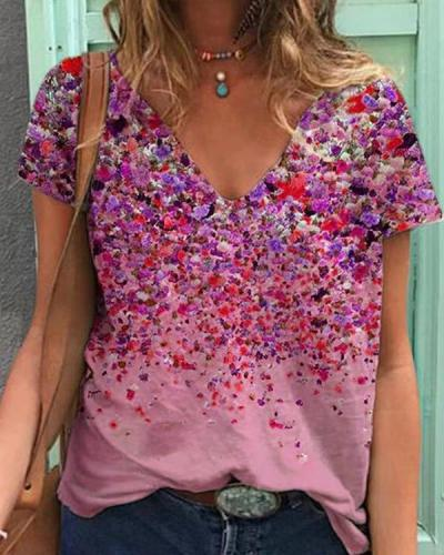 Stunning V-Neck Short Sleeve Printed Top