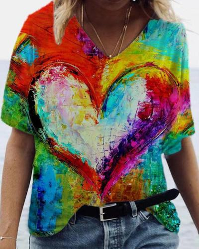 Heart-Shaped V-neck Graphic Tees