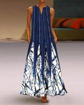 Women's Tunic Sleeveless Tribal Print Maxi long Dress