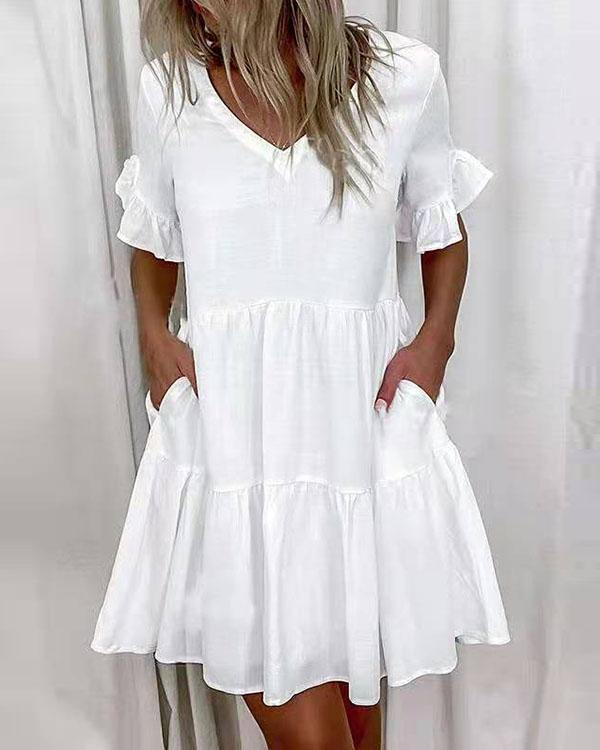 Women 1/2 Sleeves Shift Above Knee Casual Tunic Dresses