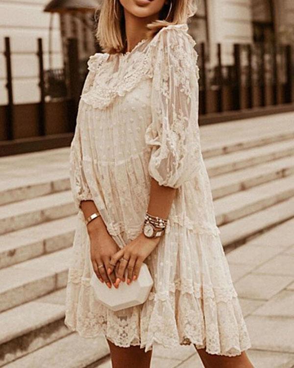 Lace Solid 3/4 Sleeves Shift Above Knee Elegant Dresses
