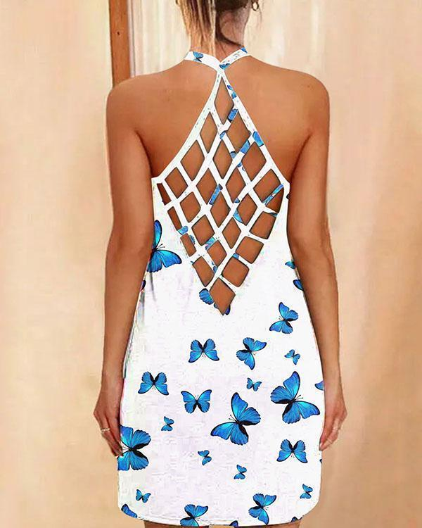 Sexy Halter Neck Reticulated Back Design Butterfly Mini Dress