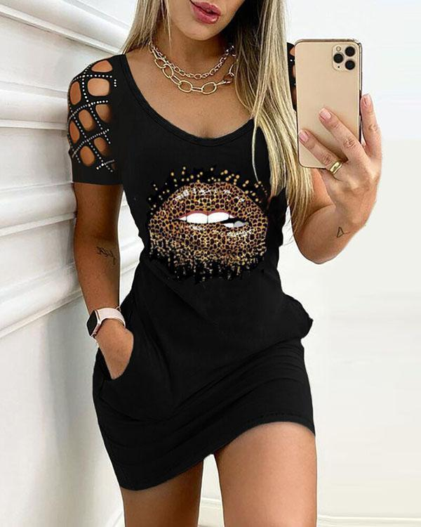 Sexy Hollow out Round Neck Print Skinny Mini Dress