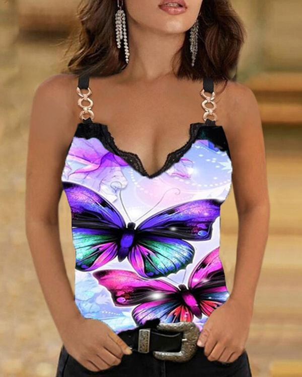 Butterfly Floral Print Women's Casual Slim Fit Vest