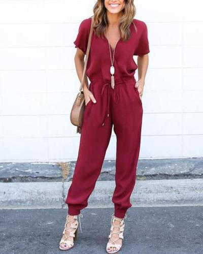 Casual Daily Solid Drawstring Waist Jumpsuit