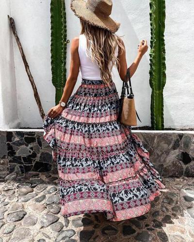 Fashion Print Irregular Hem Flowy Skirt