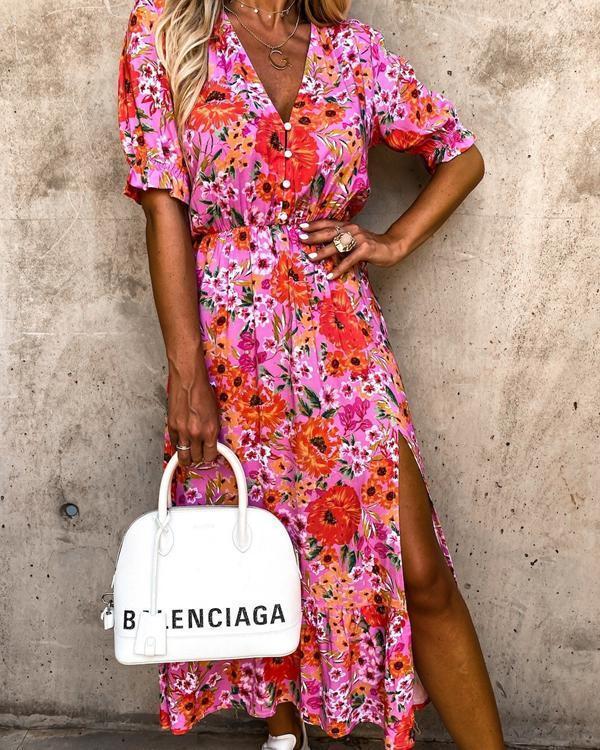 Women's Short-Sleeved Print Dress