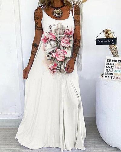 Multiple Color Skull&Rose Print Lace up Spaghetti-Strap Maxi Dress
