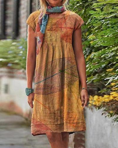 Vintage Casual Leaves Print Linen Women Dresses